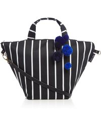 Helen Moore - Butchers Stripe Medium Pom Pom Slouch Beach Bag - Lyst