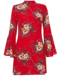 Quiz | Red Crepe High Neck Flute Sleeve Dress | Lyst