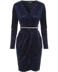 Jane Norman - Dark Blue Velvet Belted Wrap Dress - Lyst