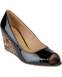 Lotus - Black Patent 'cabina' Mid Wedge Heel Peep Toe Shoes - Lyst