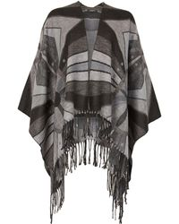 Feverfish - Checked Wool Mix Poncho - Lyst