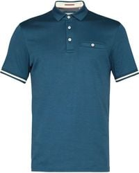 Ted Baker | Stripe Cuff Cotton Polo Shirt | Lyst