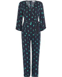 Suncoo | Long Sleeves Wrap Jumpsuit With Wrap Tie Waist | Lyst