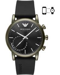 Emporio Armani - Rubber Strap Hybrid Smartwatch - Lyst
