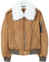 Mango - Faux Shearling Collar Quilted Jacket - Lyst