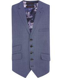 Ted Baker - Modfox Navy Pindot Slim Fit Waistcoat - Lyst