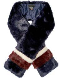 Label Lab - Faux Fur Racing Stripe Scarf - Lyst