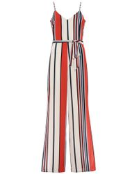 Quiz - Red Cream And Blue Stripe Palazzo Jumpsuit - Lyst