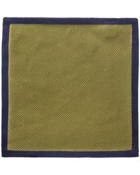 Gibson - Green With Navy Trim Knitted Hankie - Lyst