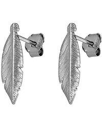 Azendi - Sterling Silver Feather Stud Earrings - Lyst