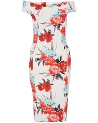 Quiz - Cream And Coral Floral Midi Dress - Lyst