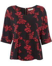 Biba - Rose Print Overlay Zip Back Blouse - Lyst