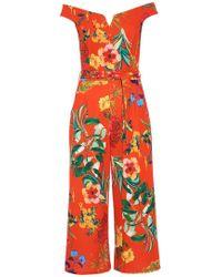 Quiz - Orange Floral Bardot Culotte Jumpsuit - Lyst