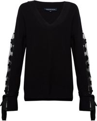 French Connection - Caballo Lace Knit V Neck Jumper - Lyst