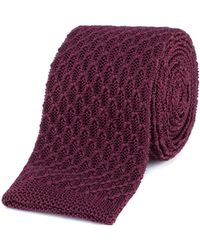 Gibson - Burgundy Honeycomb Textured Knitted Tie - Lyst