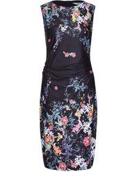 Yumi' Mirrored Floral Print Bodycon Dress - Black