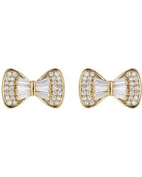 Mikey - Bow Design Baugette Cubic Stud Earring - Lyst