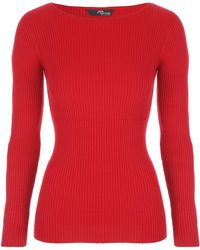 Jane Norman | Red Ribbed Cut Out Sleeve Jumper | Lyst
