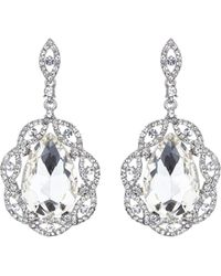 Mikey - Oval Crystal Filigree Surround Earring - Lyst