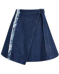 House of Holland - Taped Denim Skirt - Lyst