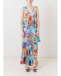 House of Holland - Nova Print Satin Maxi Dress - Lyst