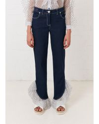House of Holland - Indigo Spot Frill Hem Jean - Lyst