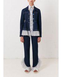 House of Holland - Indigo Peplum Jacket With Tulle Detail - Lyst