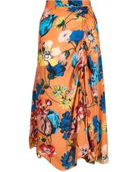 House of Holland - Orange Floral Rouched Midi Skirt - Lyst