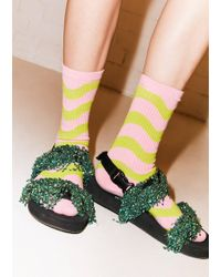 House of Holland - Wavy Lime & Pink Sock - Lyst
