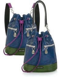 House of Holland - Mini Bucket Bag Pink/ Blue - Lyst