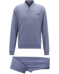 BOSS - Gift-boxed Pyjama Set In Double-faced Melange Fabric - Lyst