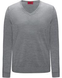 HUGO - Plain Slim-fit Sweater In New-wool Blend: 'san Carlo' - Lyst