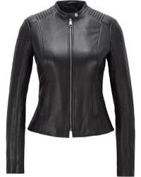 BOSS - Slim-fit Biker Jacket In Lambskin With Peplum Waist - Lyst