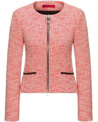 HUGO - Regular-fit Zip-through Tweed Jacket In A Cotton Blend - Lyst
