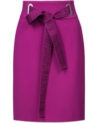 HUGO - High-waisted Pencil Skirt With Textured Ribbon Belt - Lyst