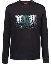 HUGO - Regular-fit Dicago Iridescent Logo Sweatshirt - Lyst