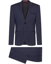HUGO Extra-slim-fit Packable Suit In Crease-resistant Fabric - Blue