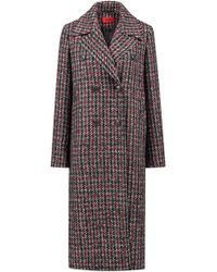 HUGO - Relaxed-fit Coat With All-over Two-tone Check Pattern - Lyst