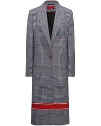 HUGO - Relaxed-fit Coat With Plain Check And Contrast Stripe - Lyst