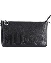 HUGO - Reverse-logo Mini Bag In Grained Leather - Lyst