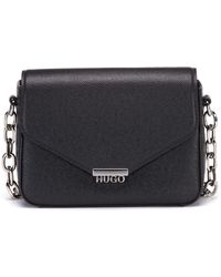 HUGO - Crossbody Bag In Saffiano-printed Leather With Chain Detail - Lyst