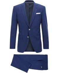 BOSS - Pinstriped Virgin Wool Silk Suit, Slim Fit | Hutson/gander - Lyst
