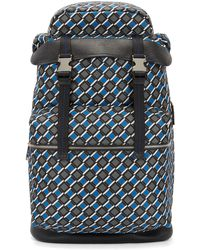 BOSS - Printed Backpack In Nylon Gabardine With Calf-leather Trims - Lyst