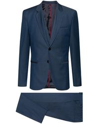 HUGO Extra-slim-fit Three-piece Suit In A Wool Blend - Blue