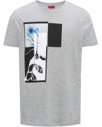 HUGO - Relaxed-fit T-shirt In Cotton With Abstract Print - Lyst