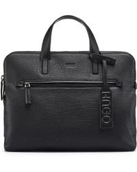 HUGO - Document Case In Buffalo-embossed Leather - Lyst