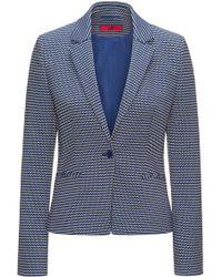 HUGO - Slim-fit Jacket In Cotton-blend Graphic Jacquard - Lyst
