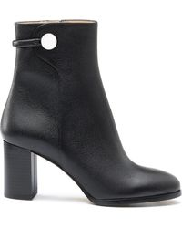 HUGO - Mid-calf Boots In Grained Italian Leather - Lyst