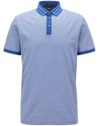 ccddaf391 BOSS - Micro-pattern Polo Shirt In Mercerized Cotton Jacquard - Lyst