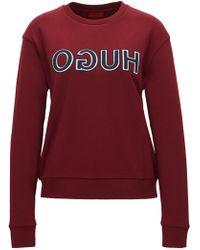 HUGO - Long-sleeved Cotton T-shirt With Varsity-style Reverse Logo - Lyst